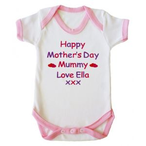 Happy Mother's Day Text Baby Vest