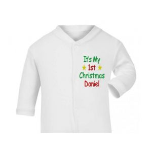 It's My 1st Christmas Any Name Baby Sleepsuit
