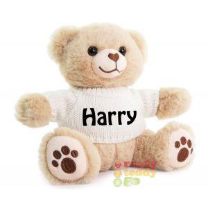 Brown Teddy Bear wearing cream Knitted Jumper