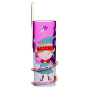 Christmas Girl Elf Tumbler with Straw