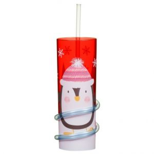 Christmas Penguin Tumbler with Straw
