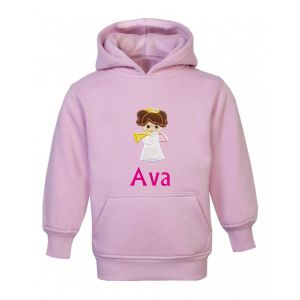Angel Any Name Childrens Embroidered Hoodie