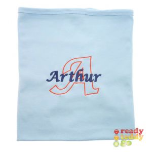 Letter Outline + Any Name Baby Cotton / Fleece Blanket