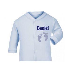 Newborn Baby Boy Footprints Any Name Baby Sleepsuit