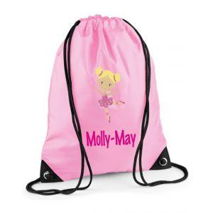 Ballerina Any Name Drawstring Bag