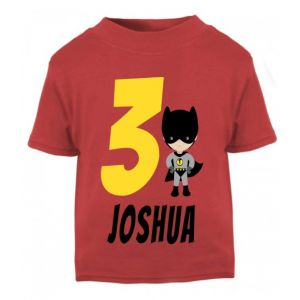 Superhero Bat Boy Birthday Any Name & Number Childrens Printed T-Shirt