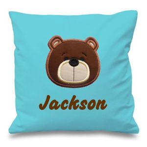 Teddy Bear Face Any Name Embroidered Cushion