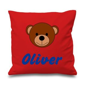 Teddy Bear Face Any Name Printed Cushion