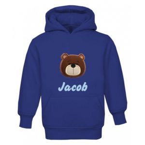 Teddy Bear Face Any Name Childrens Embroidered Hoodie