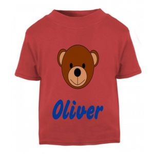 Teddy Bear Face Any Name Childrens Printed T-Shirt