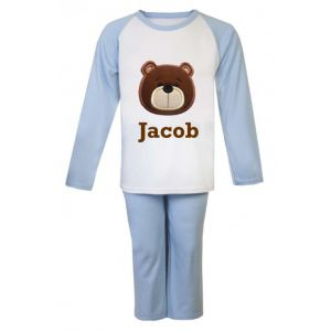 Teddy Bear Face Any Name Embroidered Pyjamas