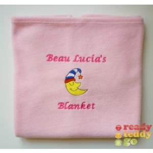 CHOOSE from x 37 Embroidered Designs + Text Baby Cotton / Fleece Blanket
