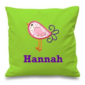 Bird Any Name Embroidered Cushion