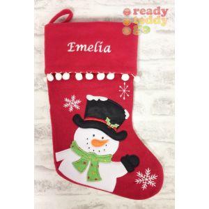 Snowman (Black Hat) Christmas Stocking