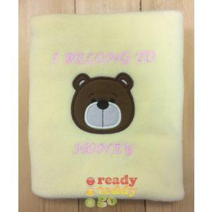 Teddy Bear Face Applique Design + Text Baby Cotton / Fleece Blanket