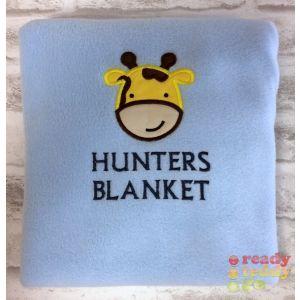 Giraffe Applique Design + Text Baby Cotton / Fleece Blanket