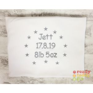 Any Name or Text (4 Lines) + Stars Baby Cotton / Fleece Blanket