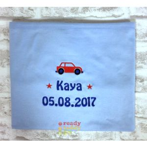 Any Name or Text (3 Lines) + Car Baby Cotton / Fleece Blanket