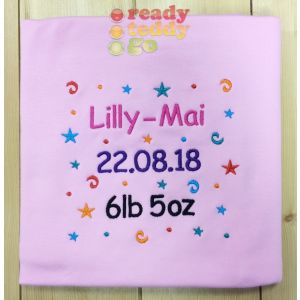 Any Name or Text (4 Lines) + Confetti Baby Cotton / Fleece Blanket