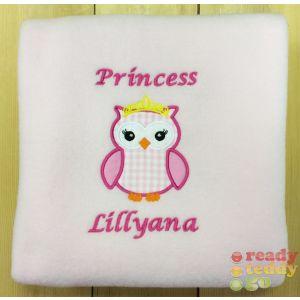 Princess Owl Applique Design + Text Baby Cotton / Fleece Blanket