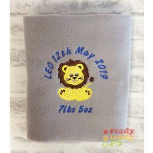 Lion Applique Design + Text Baby Cotton / Fleece Blanket