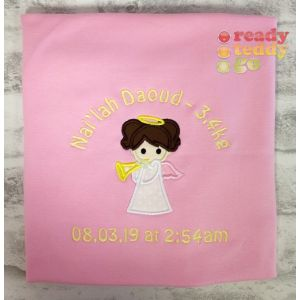 Angel Applique Design + Text Baby Cotton / Fleece Blanket