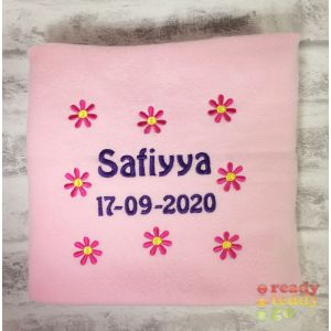 Any Name or Text (4 Lines) + Flowers Baby Cotton / Fleece Blanket