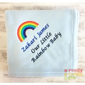 Any Name or Text (3 Lines) + Rainbow Baby Cotton / Fleece Blanket