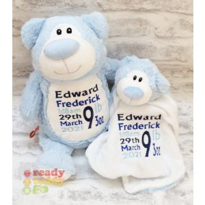 Cubbyford The Blue Bear Cubbie & Blankie Gift Set