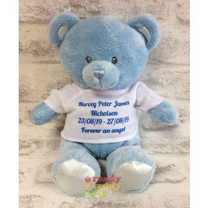 Baby Teddy Bear Blue - Angel Wings T-Shirt