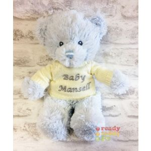 Baby Blue Teddy Bear with Knitted Jumper