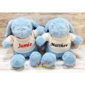 Blue Bunny Rabbit wearing cream Knitted Jumper