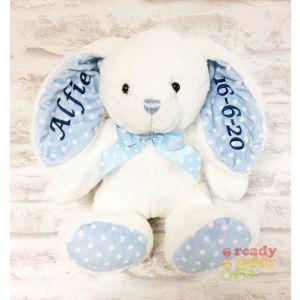 Baby Blue Spotty Rabbit (Name on Ear)