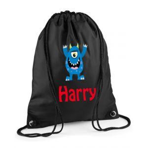 Blue Monster Any Name Drawstring Bag