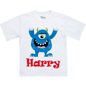 Blue Monster Any Name Childrens T-Shirt