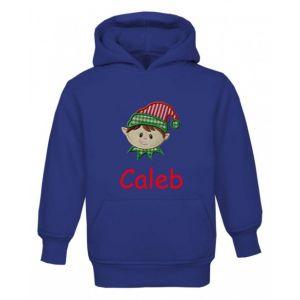Christmas Boy Elf Any Name Childrens Embroidered Hoodie