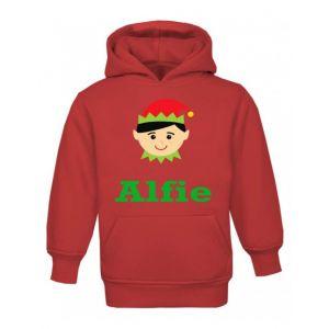 Christmas Boy Elf Any Name Childrens Hoodie