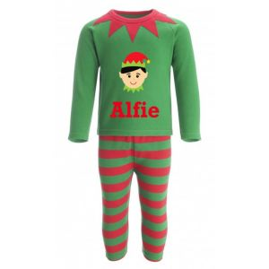 Christmas Boy Elf Any Name Childrens Pyjamas