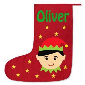 Boy Elf Any Name Printed Christmas Stocking