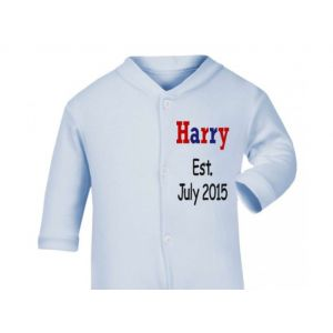 Any Name Est. Any Date Boy Baby Sleepsuit