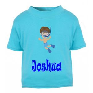 Swimming Boy Any Name Childrens Printed T-Shirt