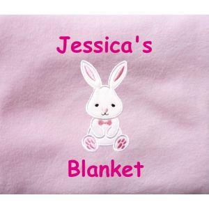 Bunny Applique Design + Text Baby Cotton / Fleece Blanket