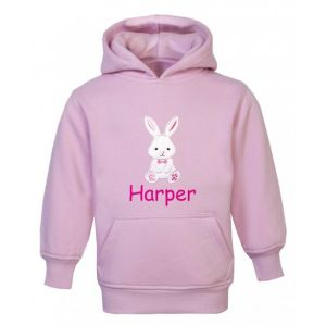 Bunny Rabbit Any Name Childrens Embroidered Hoodie