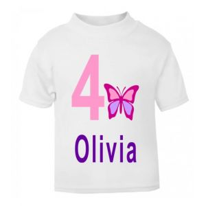 Butterfly Birthday Any Name & Number Childrens Printed T-Shirt