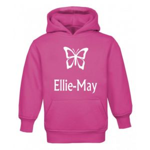 Butterfly Silhouette Any Name Childrens Glow in Dark Hoodie