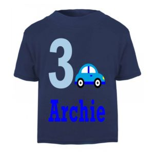 Car Birthday Any Name & Number Childrens Printed T-Shirt