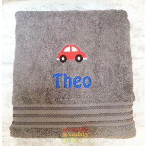Name + Car Embroidered Design Bath Towel