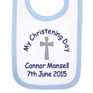 My Christening Day Name + Date Boy Baby Bib