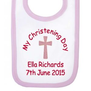 My Christening Day Name + Date Girl Baby Bib