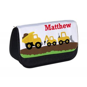 Construction Vehicles Any Name Pencil Case